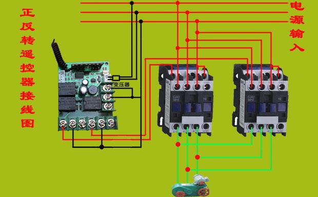 其接线方法如下图所示:  1套卷帘机无线遥控器包括:1个接收板,1个遥控
